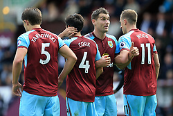 10th September 2017 - Premier League - Burnley v Crystal Palace - Sam Vokes of Burnley (2R) gives the thumbs up as he organises the defensive wall - Photo: Simon Stacpoole / Offside.