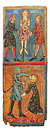 Gothic painted wood panels with scenes of the Martyrdom of Saint Lucy<br /> Circa 1300. Tempera on wood. Date Circa 1300. Dimensions 66 x 25.8 x 2 cm. From the parish church of Santa Llúcia de Mur (Guàrdia de Noguera, Pallars Jussà). National Museum of Catalan Art, Barcelona, Spain, inv no: 035703-CJT .<br /> <br /> If you prefer you can also buy from our ALAMY PHOTO LIBRARY  Collection visit : https://www.alamy.com/portfolio/paul-williams-funkystock/romanesque-art-antiquities.html<br /> Type -     MNAC     - into the LOWER SEARCH WITHIN GALLERY box. Refine search by adding background colour, place, subject etc<br /> <br /> Visit our ROMANESQUE ART PHOTO COLLECTION for more   photos  to download or buy as prints https://funkystock.photoshelter.com/gallery-collection/Medieval-Romanesque-Art-Antiquities-Historic-Sites-Pictures-Images-of/C0000uYGQT94tY_Y