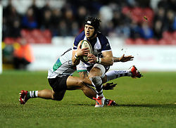 Bristol Rugby's Matthew Morgan is tackled by Nottingham Rugby's Pila Iongi  - Photo mandatory by-line: Joe Meredith /JMP - Mobile: 07966 386802 - 06/03/2015 - SPORT - Rugby - Bristol - Ashton Gate - Bristol Rugby v Nottingham Rugby - Greene King IPA Championship