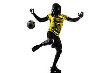 one black Brazilian soccer football player man in silhouette studio on white background