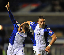 Birmingham City's Oliver Lee celebrates with Birmingham City's Peter Lovenkrands -  - Photo mandatory by-line: Alex James/JMP - Tel: Mobile: 07966 386802 29/10/2013 - SPORT - FOOTBALL - ST Andrew's - Birmingham - Birmingham City v Stoke City - Capital One Cup - Forth Round