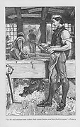 Adam Bede, the village carpenter, in the workshop, his dog Gyp on a pile of shavings under the bench.  'Adam Bede' by George Eliot, first published 1859. Illustration by William Small (1843-1929) from an edition published c1885.
