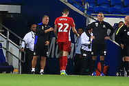 Shane Duffy of Blackburn Rovers, the scorer of the two own goals , walks down the tunnel after being sent off as his manager Owen Coyle ® looks on dejected. EFL Skybet championship match, Cardiff city v Blackburn Rovers at the Cardiff city stadium in Cardiff, South Wales on Wednesday 17th August 2016.<br /> pic by Andrew Orchard, Andrew Orchard sports photography.