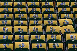 November 15, 2017 - SöDertäLje, SVERIGE - 171115 Skyltar med texten FramÃ¥t Sverige pÃ¥ stolarna pÃ¥ läktaren innan basketmatchen i EM-kvalet mellan Sverige och Makedonien den 15 November 2017 i Södertälje. (Credit Image: © Kenta JöNsson/Bildbyran via ZUMA Wire)