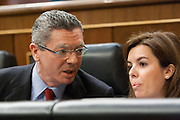 Alberto Ruiz-Gallardon, minister of justice and Soraya Saenz de Santamaria, representative of Spain Government
