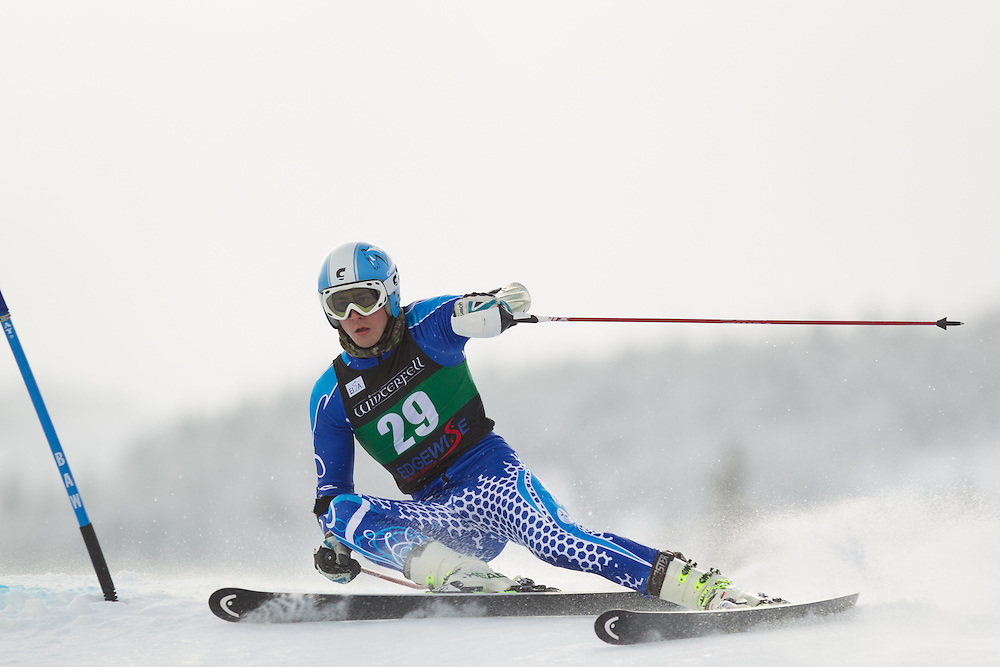 Kenny Wilson of Colby Sawyer College, skis during the first run of the men's giant slalom at the Colby College Carnival at Sugarloaf Mountain on January 17, 2014 in Carabassett Valley, ME. (Dustin Satloff/EISA)