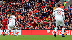 Liverpool's Steven Gerrard shoots during the Legends match at Anfield Stadium, Liverpool.