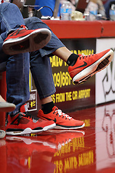 16 November 2014:  Redbird shoes for a pair of fans during an NCAA non-conference game between the Utah State Aggies and the Illinois State Redbirds.  The Aggies win the competition 60-55 at Redbird Arena in Normal Illinois.