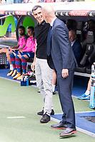 Real Madrid's coach Zinedine Zidane and Levante's coach Juan Ramon Lopez Muniz during La Liga match between Real Madrid and Levante UD at Santiago Bernabeu Stadium in Madrid, Spain September 09, 2017. (ALTERPHOTOS/Borja B.Hojas)