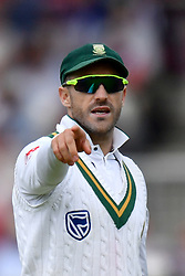 South Africa's captain Faf du Plessis during day two of the Fourth Investec Test at Emirates Old Trafford, Manchester.
