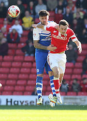 Peterborough United's Alan Sheehan in action with Barnsley's Josh Scowen - Photo mandatory by-line: Joe Dent/JMP - Mobile: 07966 386802 - 18/04/2015 - SPORT - Football - Barnsley - Oakwell - Barnsley v Peterborough United - Sky Bet League One