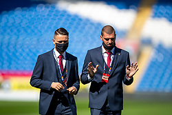 CARDIFF, WALES - Sunday, September 6, 2020: Bulgaria's Yanis Karabelyov (L) and goalkeeper Georgi Georgiev inspect the pitch before the UEFA Nations League Group Stage League B Group 4 match between Wales and Bulgaria at the Cardiff City Stadium. (Pic by David Rawcliffe/Propaganda)