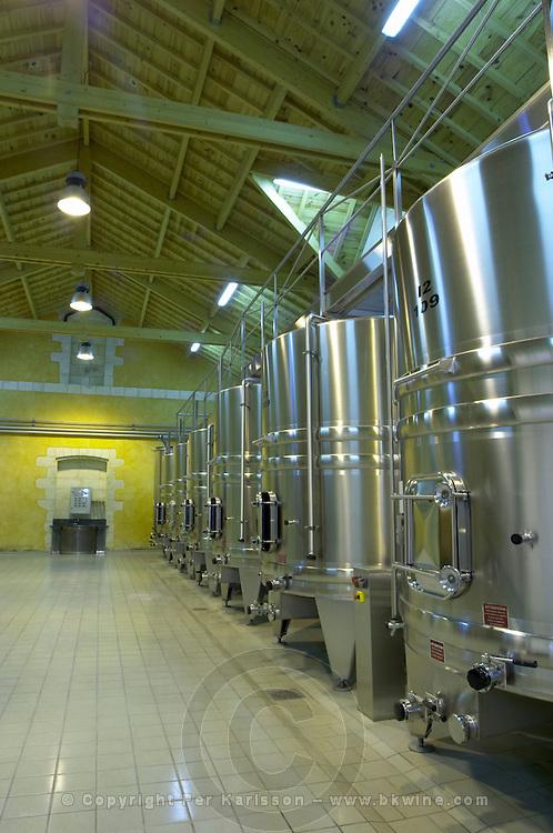 Fermentation tanks. Chateau Petit Faurie de Soutard, Saint Emilion, Bordeaux, France