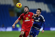 Grant Hanley, the Blackburn Rovers captain holds off Tony Watt of Cardiff city (r). Skybet football league championship match, Cardiff city v Blackburn Rovers at the Cardiff city stadium in Cardiff, South Wales on Saturday 2nd Jan 2016.<br /> pic by Andrew Orchard, Andrew Orchard sports photography.