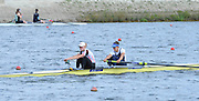 Reading. United Kingdom.  GBR W2-. Jessica EDDIE and Polly SWANN, in the opening strokes of the morning time trial. 2014 Senior GB Rowing Trails, Redgrave and Pinsent Rowing Lake. Caversham.<br /> <br /> 10:43:39  Saturday  19/04/2014<br /> <br />  [Mandatory Credit: Peter Spurrier/Intersport<br /> Images]