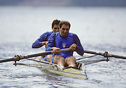 Bled, Slovenia, YUGOSLAVIA.  Gold medalist, ITA M2+. Bow, Carmine ABBAGNALE, stroke Giuseppe ABBAGNALE, Cox Giuseppe DI CAPUA.1989 World Rowing Championships, Lake Bled. [Mandatory Credit. Peter Spurrier/Intersport Images]