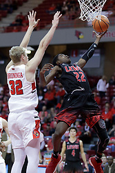 05 November 2017:  Dre Bell uses the scoop reverse to get past Taylor Bruninga during aLewis College Flyers and Illinois State Redbirds in Redbird Arena, Normal IL