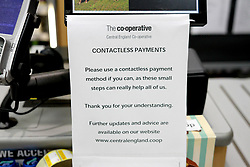 A sign saying 'contactless payments only' in a Co Operative Store<br /> <br /> <br /> Ben Booth | 20/03/2020