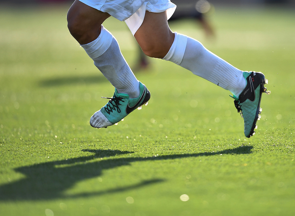 Orange Coast College player in a match against Santa Ana College on Friday afternoon.