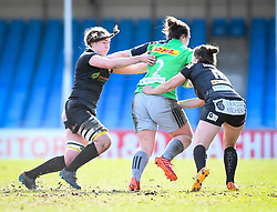 Lauren Cattell and Ebony Jefferies of Exeter Chiefs attempt a tackle on Amy Cokayne of Harlequins - Mandatory by-line: Andy Watts/JMP - 06/02/2021 - Sandy Park - Exeter, England - Exeter Chiefs Women v Harlequins Women - Allianz Premier 15s