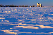 Grain elevator at sunrise<br /> Pangman<br /> Saskatchewan<br /> Canada