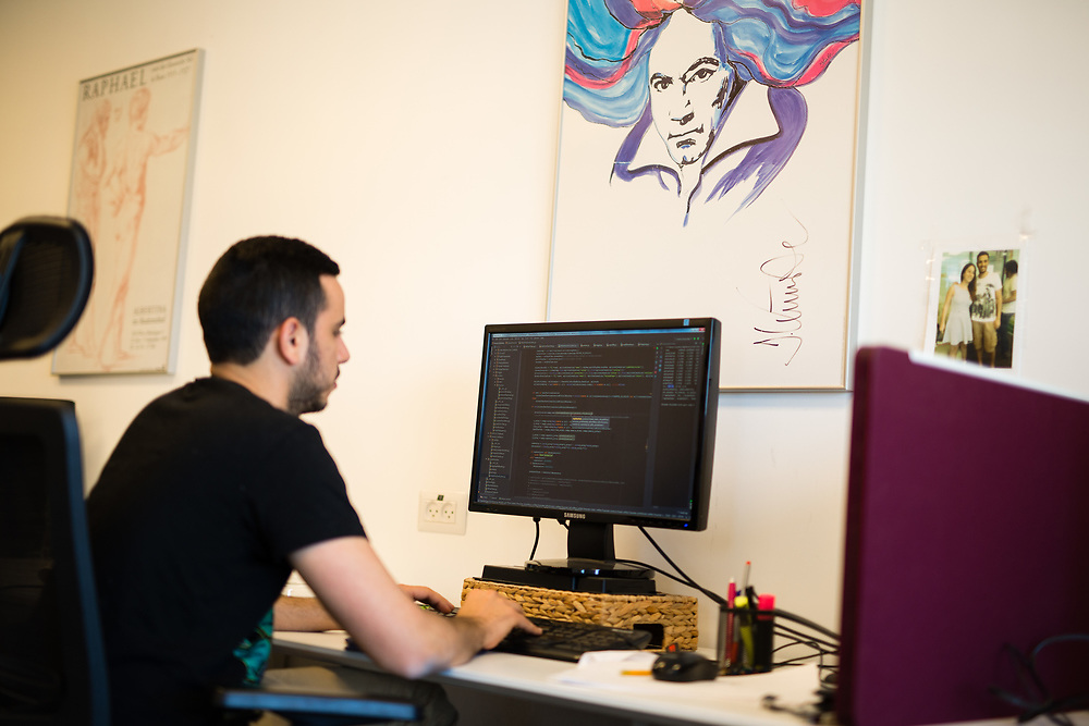 An employee works on a computer in Deutsche Telekom labs, at Gav-Yam Negev Advanced Technologies Park, in the city of Beersheba, southern Israel. on March 9, 2016.