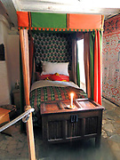 Tudor style four poster bed in Shakespeare's Birthplace, a restored 16th-century half-timbered house situated in Henley Street, Stratford-upon-Avon, Warwickshire, England, where it is believed that William Shakespeare was born in 1564 and spent his childhood years.