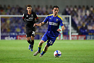AFC Wimbledon midfielder Ethan Chislett (11) dribbling during the EFL Sky Bet League 1 match between AFC Wimbledon and Lincoln City at Plough Lane, London, United Kingdom on 2 January 2021.