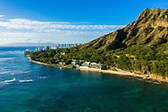 Aerial View of Diamond Head and Waikiki, Honolulu, Oahu, Hawaii, USA