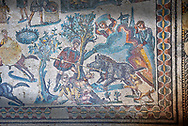 Hunters hunting a boar. Roman mosaic floor of the Room of The Small Hunt, no 25 - Roman mosaics at the Villa Romana del Casale ,  circa the first quarter of the 4th century AD. Sicily, Italy. A UNESCO World Heritage Site. .<br /> <br /> If you prefer to buy from our ALAMY PHOTO LIBRARY  Collection visit : https://www.alamy.com/portfolio/paul-williams-funkystock/villaromanadelcasale.html<br /> Visit our ROMAN MOSAICS  PHOTO COLLECTIONS for more photos to buy as buy as wall art prints https://funkystock.photoshelter.com/gallery/Roman-Mosaics-Roman-Mosaic-Pictures-Photos-and-Images-Fotos/G00008dLtP71H_yc/C0000q_tZnliJD08