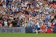 GOAL 0-1. Tranmere Rovers forward Connor Jennings (11) celebrates with teammates after scoring a goal during the EFL Sky Bet League 2 Play Off Final match between Newport County and Tranmere Rovers at Wembley Stadium, London, England on 25 May 2019.
