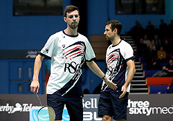 Chris Coles (Capt) of Bristol Jets and Richard Eidestedt of Bristol Jets looks frustrated during their doubles defeat to Team Derby - Photo mandatory by-line: Robbie Stephenson/JMP - 07/11/2016 - BADMINTON - University of Derby - Derby, England - Team Derby v Bristol Jets - AJ Bell National Badminton League