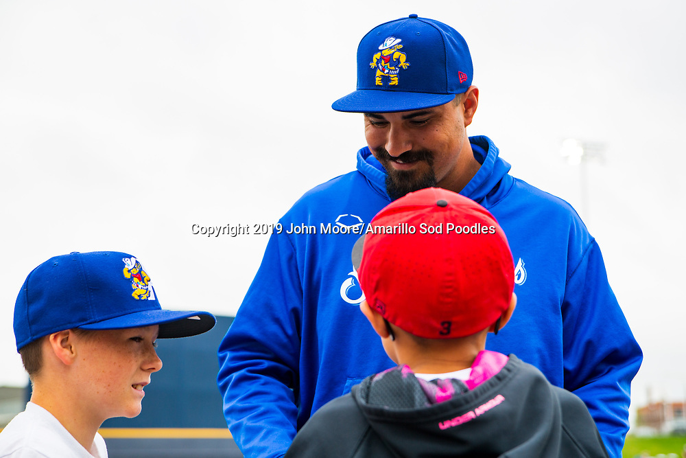 Amarillo Sod Poodles pitcher Travis Radke (27) talks with fans against the Midland RockHounds on Sunday, May 26, 2019, at HODGETOWN in Amarillo, Texas. [Photo by John Moore/Amarillo Sod Poodles]