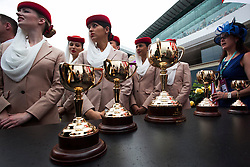 © Licensed to London News Pictures. 06/11/2012. The winners trophies of the on display before the race during the Emirates Melbourne Cup at the Flemington Racecourse, Melbourne. Photo credit : Asanka Brendon Ratnayake/LNP