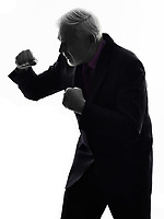 One Caucasian Senior Business Man punching the air Silhouette White Background