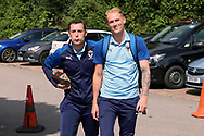 AFC Wimbledon midfielder Dylan Connolly (16) and AFC Wimbledon midfielder Mitchell (Mitch) Pinnock (11) arriving during the EFL Sky Bet League 1 match between AFC Wimbledon and Accrington Stanley at the Cherry Red Records Stadium, Kingston, England on 17 August 2019.