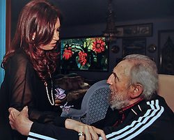Cuban former president Fidel Castro receives Argentina's President Cristina Fernandez de Kirchner, at his house in Havana, Cuba on January 11, 2013. Cristina Kirchner was in Cuba to visit Venezuela's President Hugo Chavez who is recovering from cancer. Photo by Balkis Press/ABACAPRESS.COM    348326_003 Havana Cuba