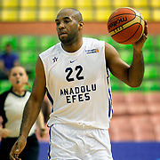 Anadolu Efes's Alfred Jamon Lucas during their Turkish Basketball League match Anadolu Efes between Ted Kolej at the Ayhan Sahenk Arena in Istanbul, Turkey on Sunday, 31 March, 2013. Photo by TURKPIX