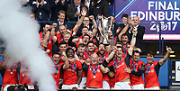 Rugby Union - 2017 European Rugby Champions Cup Final - Clermont Auvergne vs. Saracens<br /> <br /> Saracens team lifts the Champions Cup Final at Murrayfield.<br /> <br /> COLORSPORT/LYNNE CAMERON