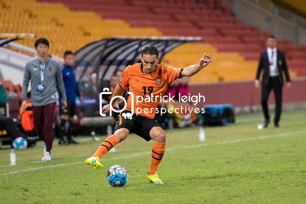 BRISBANE, AUSTRALIA - APRIL 12: Jack Hingert of the Roar in action during the Asian Champions League Group Stage match between the Brisbane Roar and Kashima Antlers at Suncorp Stadium on April 12, 2017 in Brisbane, Australia. (Photo by Patrick Kearney/Brisbane Roar)