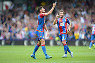 Joel Ward of Crystal Palace celebrates after scoring his sides first goal of the game to make it 1-1. Barclays Premier league match, Crystal Palace v Arsenal at  Selhurst Park in London on Sunday 16th August 2015.<br /> pic by John Patrick Fletcher, Andrew Orchard sports photography.