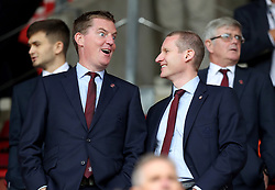 """Southampton director Martin Semmens (left) and managing director Toby Steele in the stands before the Premier League match at St Mary's, Southampton. PRESS ASSOCIATION Photo. Picture date: Sunday August 12, 2018. See PA story SOCCER Southampton. Photo credit should read: Andrew Matthews/PA Wire. RESTRICTIONS: EDITORIAL USE ONLY No use with unauthorised audio, video, data, fixture lists, club/league logos or """"live"""" services. Online in-match use limited to 120 images, no video emulation. No use in betting, games or single club/league/player publications."""