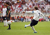 Photo: Chris Ratcliffe.<br /> England v Ecuador. 2nd Round, FIFA World Cup 2006. 25/06/2006.<br /> David Beckham of England scoring the first goal.