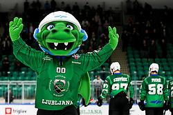 Official mascot Paki during ice hockey match between HK SZ Olimpija Ljubljana and HC Orli Znojmo in bet-at-home ICE Hockey League, on October 17, 2021 in Hala Tivoli, Ljubljana, Slovenia. Photo by Morgen Kristan / Sportida