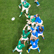 Paul O'Connell, Ireland, wins a line out during the Ireland V Italy Pool C match during the IRB Rugby World Cup tournament. Otago Stadium, Dunedin, New Zealand, 2nd October 2011. Photo Tim Clayton...