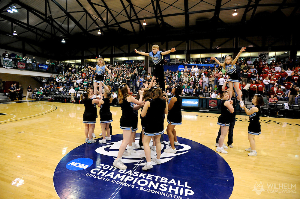 18 MAR 2011:  Special Olympian members of the Bloomington Victory Academy Lions cheerleading team perform during the 2011 NCAA Women's Division III Basketball Championship held on the campus of the Illinois Wesleyan University in Bloomington, IL. © Brett Wilhelm