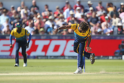 July 1, 2019 - Chester Le Street, County Durham, United Kingdom - Sri Lanka's Lasith Malinga bowling during the ICC Cricket World Cup 2019 match between Sri Lanka and West Indies at Emirates Riverside, Chester le Street on Monday 1st July 2019. (Credit Image: © Mi News/NurPhoto via ZUMA Press)