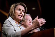 House Minority Leader Nancy Pelosi (D-CA) speaks to the media about ongoing budget negotiations with the Republican majority during a press conference on Capitol Hill in Washington, D.C., on October 1, 2015.