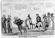 Questioning a Candidate 1848. Zachary Taylor fields questions from a group of 'Office Seekers.'