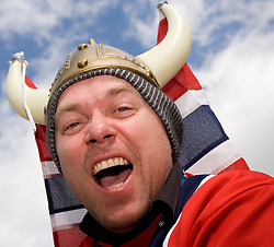 Fan of Norway during Flying Hill Team Second Round at 4th day of FIS Ski Flying World Championships Planica 2010, on March 21, 2010, Planica, Slovenia.  (Photo by Vid Ponikvar / Sportida)